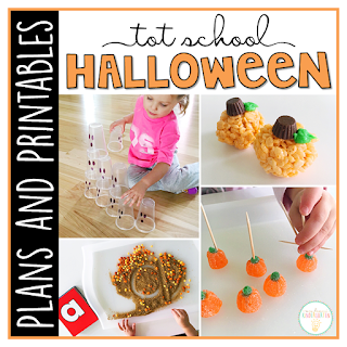 Tot School & Toddler Curriculum Made Easy! This Tot School: Halloween resource has everything you need for a week packed full of Halloween themed fun and learning. Weekly plans, materials, printables and goals for pre-academic, fine motor, and gross motor skills practice, along with snack ideas, and sensory bin plans are all included in this download!
