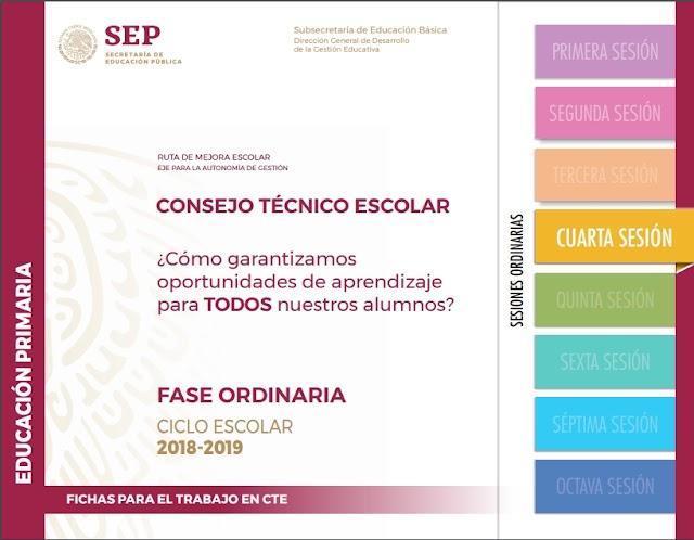 Fichas del Consejo Técnico Escolar - Cuarta Sesión - Inicial - Preescolar - Primaria - Secundaria