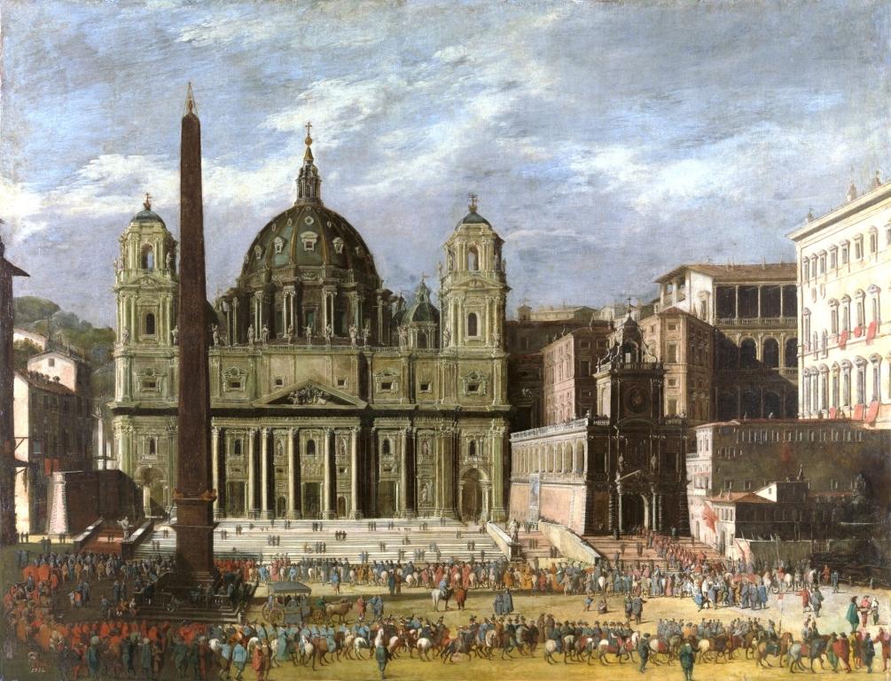 Viviano Codazzi: Exterior de San Pedro, Roma (Museo del Prado)