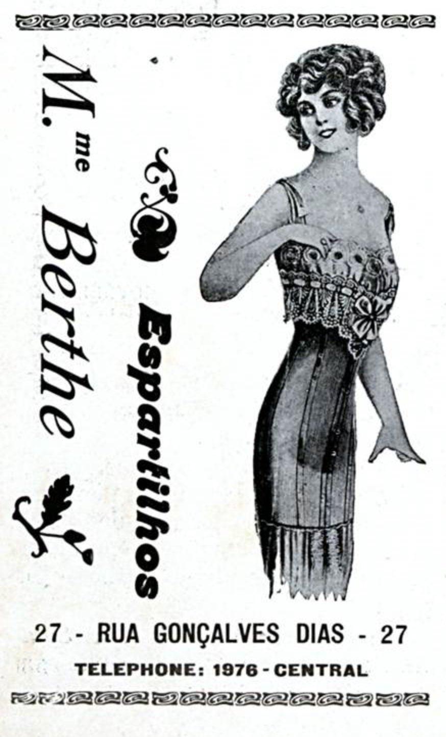 Propaganda antiga veiculada em 1911 para promover os espartilhos M.me Berthe