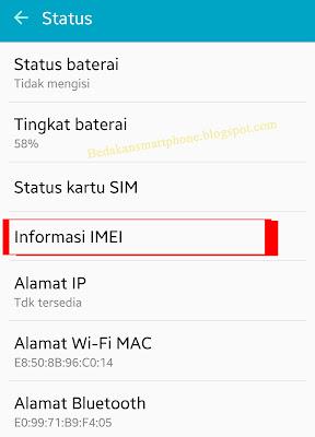 Menu Cek Status IMEI Hp android