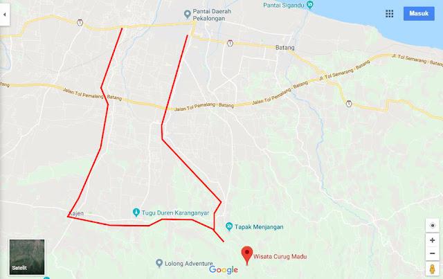peta rute ke curug madu resmi lemahabang