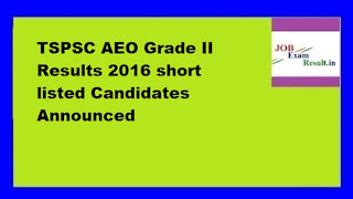 TSPSC AEO Grade II Results 2016 short listed Candidates Announced