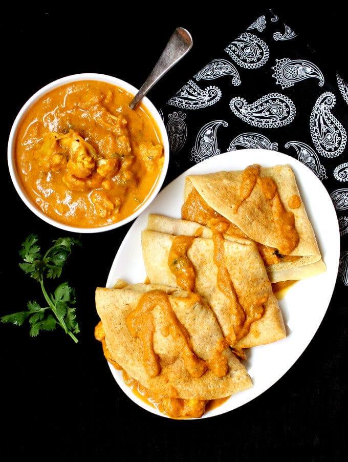 South Indian Cauliflower Makhani Dosa Crepes Recipe