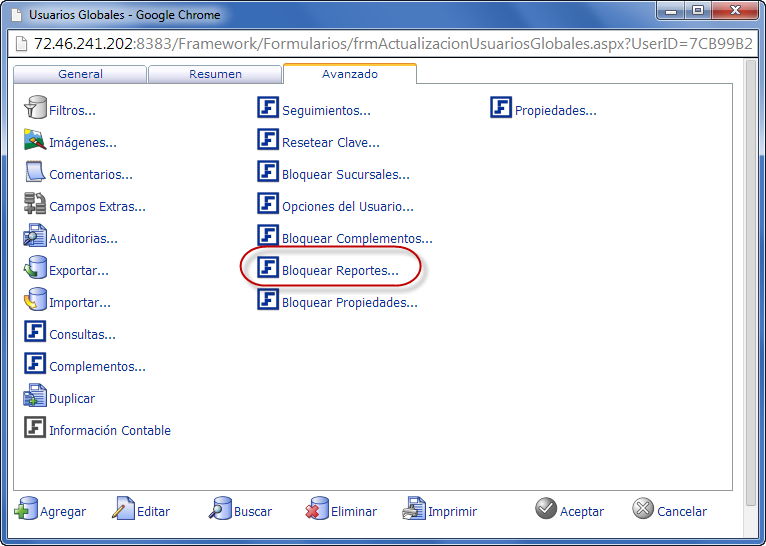 Usuarios Globales, Ficha Avanzados - Programación de Reportes en eFactory ERP/CRM, Contabilidad, Nómina