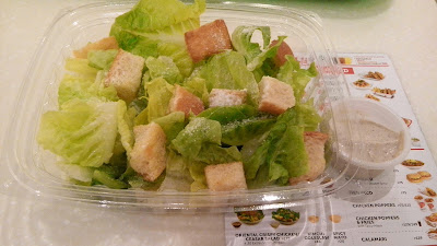 Bonchon Ceasar Salad Php 125. I think this is very expensive because it only contains croutons, parmesan cheese, lettuce and dip.