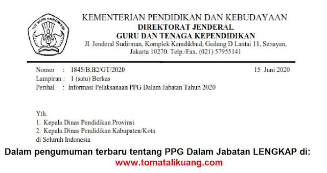 informasi pelaksanaan ppg dalam jabatan tahun 2020; tomatalikuang.com