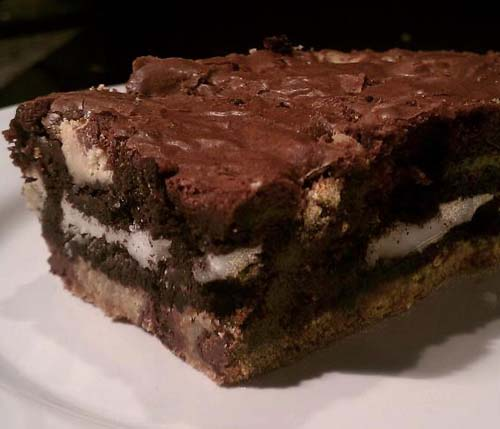 Slutty Brownies. Made from brownie mix, Oreo cookies, and cookie dough. All ingredients can be bought off-the-shelf for convenience.