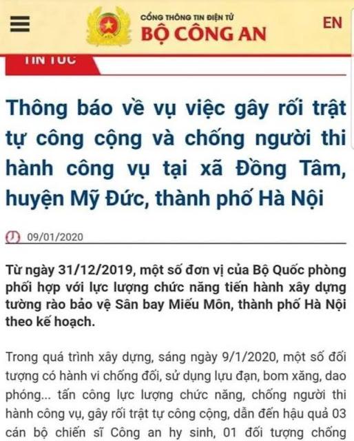 Bộ Công an: 3 Công An tham gia cưỡng chế đất ở Đồng Tâm chết
