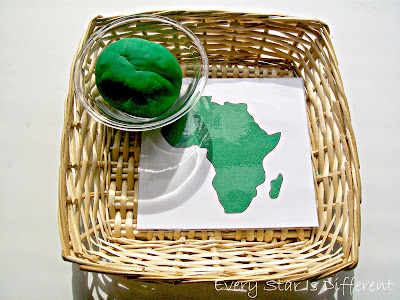 Montessori-inspired Africa play dough activity with free printable