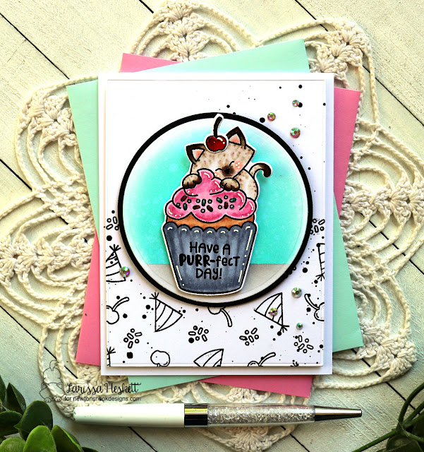 Birthday Cat and Cupcake Card by Larissa Heskett | Newton's Cupcake Stamp Set and Circle Frames Die Set by Newton's Nook Designs #newtonsnook #handmade