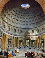 Panini's painting of the interior of  The Pantheon in Rome