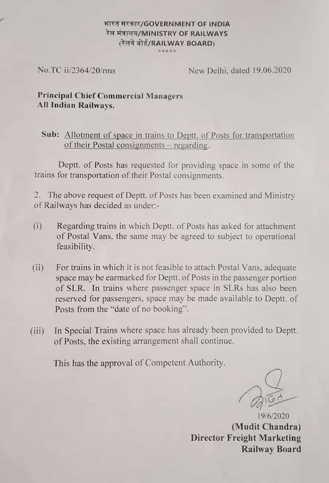 Allotment of space in train to Department of Posts