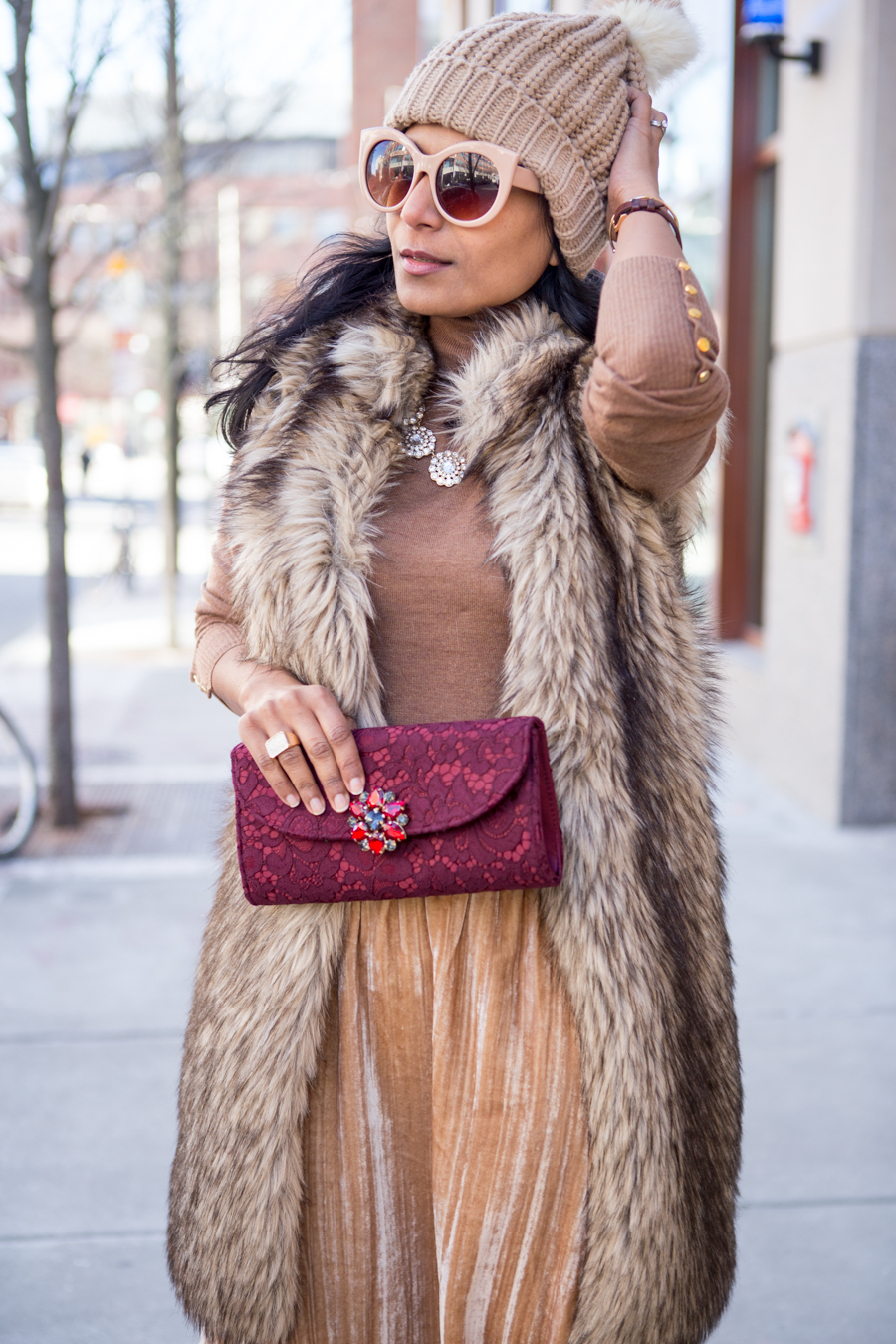 indian style, winter style, petite fashion, winter fashion, nordstrom, velvet, clutches, faux fur, midi skirt, camel, luxe fabrics
