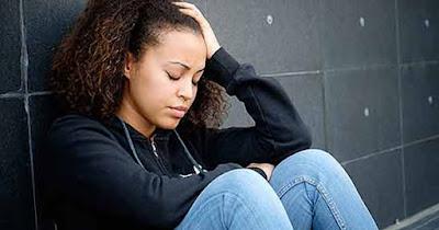 African American woman depressed
