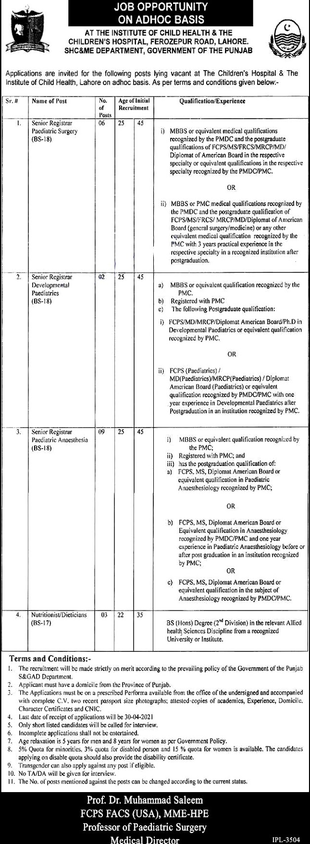 Latest Jobs  in The Children Hospital Lahore 2021