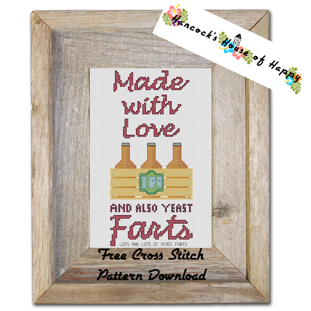 Love and Yeast Farts Funny Free Craft Beer Cross Stitch Pattern to Download