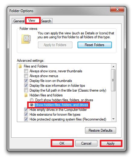 Chọn vào ô Show hidden files, folders, and drives nhấn Apply để xác nhận sau đó bấm OK