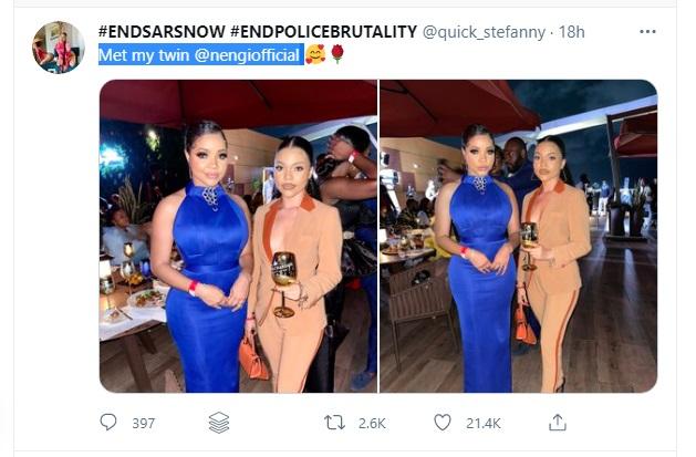 BBNaija: See Photos As Nengi Links Up With Her Beautiful 'Twin Sister'