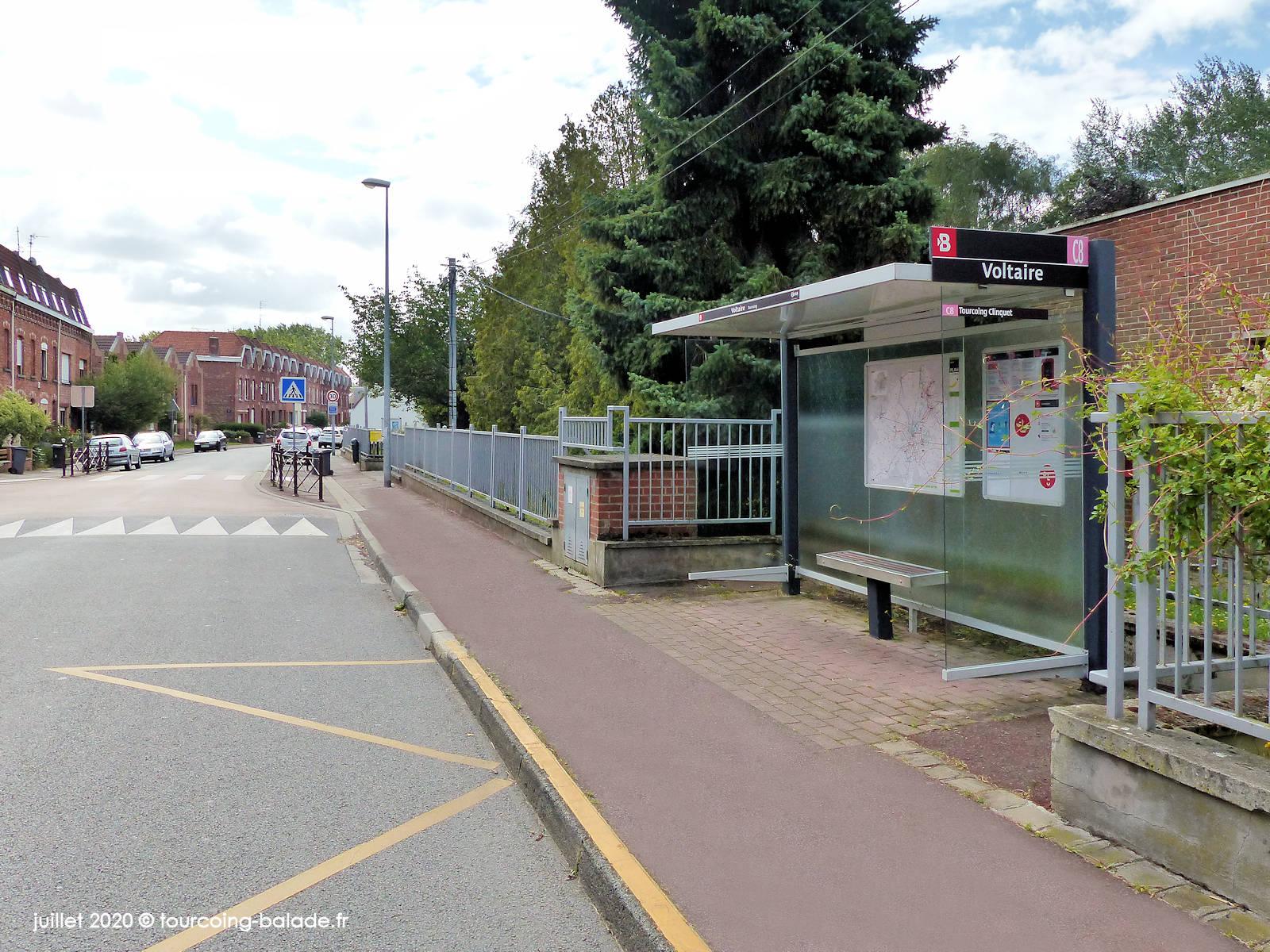Bus ligne C8 arrêt Voltaire, Tourcoing 2020