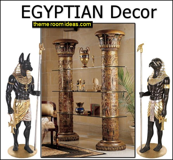 Horus Statues Anubis Statues Egyptian Columns of Luxor Shelves Egyptian furniture