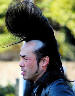 Elvis Frisur lustige Haare Japaner