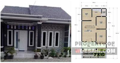 Denah Rumah Sederhana 3 Kamar Tidur 6x12 Desain Rumah Minimalis