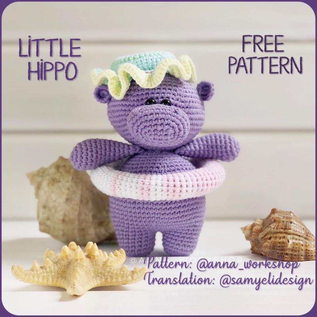 Crochet Amigurumi Hippo PATTERN ONLY, Harvey Hippo, pdf Amigurumi ... | 1080x1080