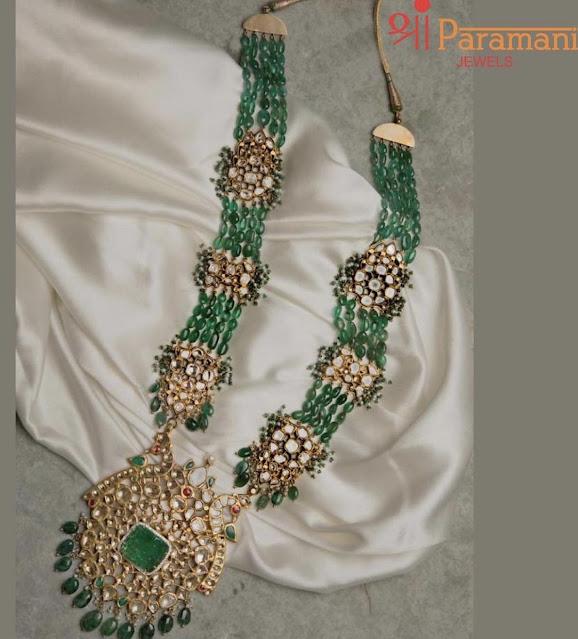 Emerald Beads Set by Shri Paramani Jewels