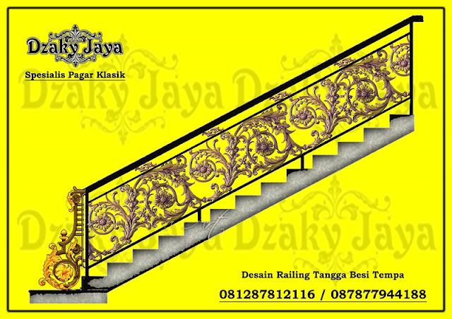 Contoh model railing tangga besi tempa klasik terbaru