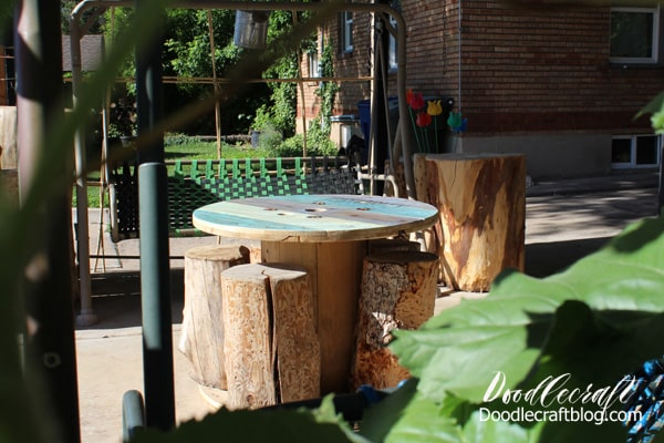Patio table made from a giant wood spool with log chairs.