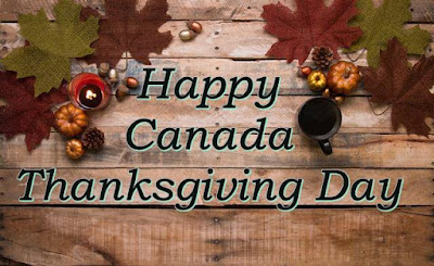 Happy Canada thanksgiving image written on a table
