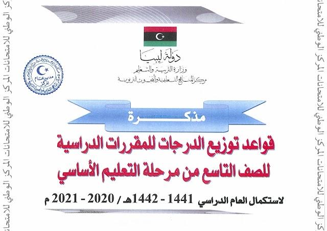 ليبيا   قواعد توزيع الدرجات للمقررات الدراسية للصف التاسع في التعليم الاساسي 2021