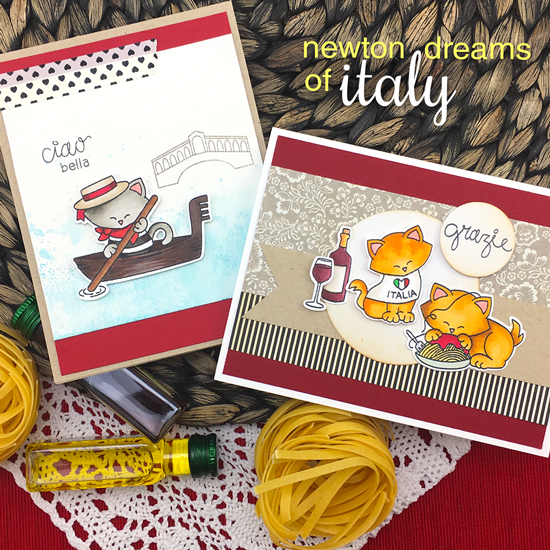 Italy Cat cards by Jennifer Jackson | Newton Dreams of Italy stamp set by Newton's Nook Designs #newtonsnook