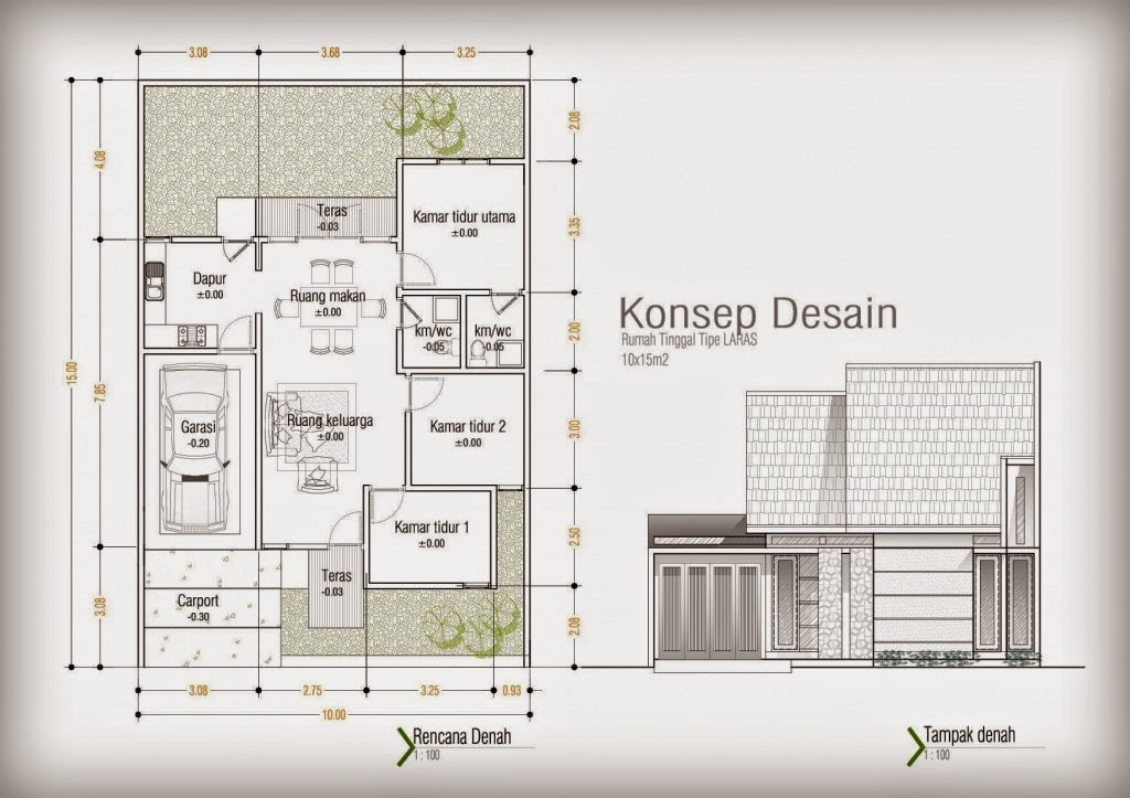 20 Denah Rumah Ukuran 10x15 1 Lantai Paling Top