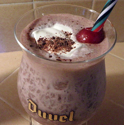 Closeup of Black Forest Shake in a Duvel Glass