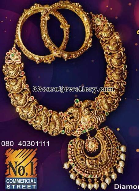 Nakshi Necklace with Bangles by Sri Krishna Jewellers