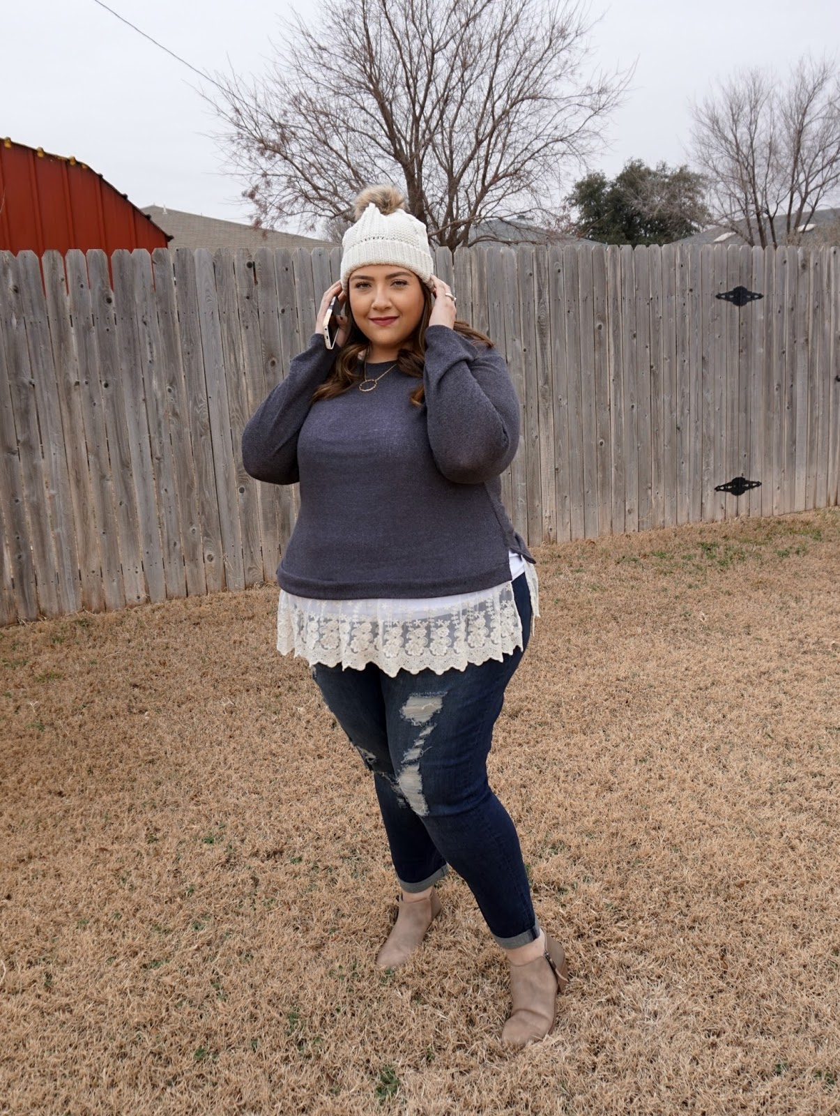 Plus Size Winter Outfit -- Distressed Denim & Lace   beautywithlily.com