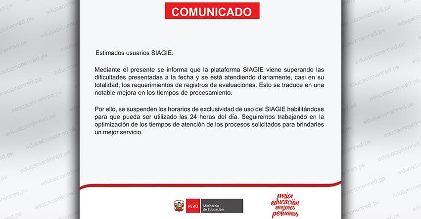 SIAGIE COMUNICADO: Suspenden horarios de exclusividad del Servicio - MINEDU - www.siagie.minedu.gob.pe