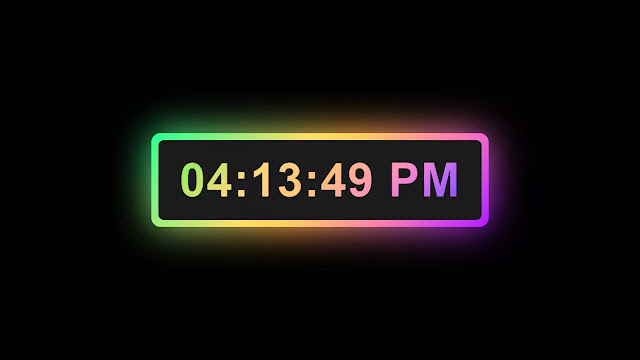Digital Clock with Colorful Glowing Effect