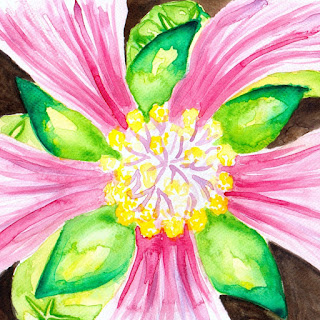 Flower close up watercolor painting