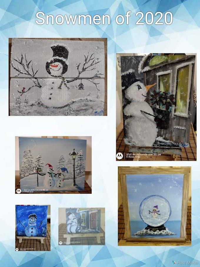 My paintings of snowmen in 2020