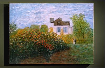 """copie d'un Monet, """"le jardin de Monet à Argenteuil, les dahlias"""""""