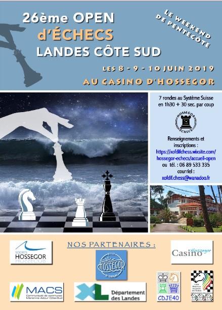 8-10 junio. 26ème Open International d'Échecs Landes Côte Sud