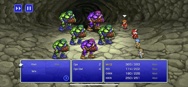 Final Fantasy 1 Pixel Remaster Battle: 6 ogres vs party of Fighter, Red Mage, Thief, and Monk