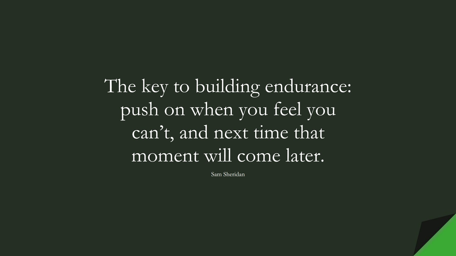 The key to building endurance: push on when you feel you can't, and next time that moment will come later. (Sam Sheridan);  #PerseveranceQuotes