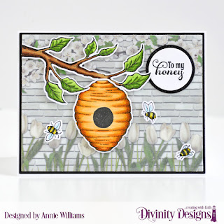 Stamp/Die Duos: Bee-lieve Custom Dies: A2 Landscape Card Base with Layer, Matting Rectangle, Pierced Circles Paper Collection: Spring Flowers 2019