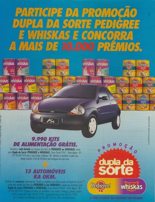 Propaganda antiga da ação promocional da Pedigree e Whiskas em 1997