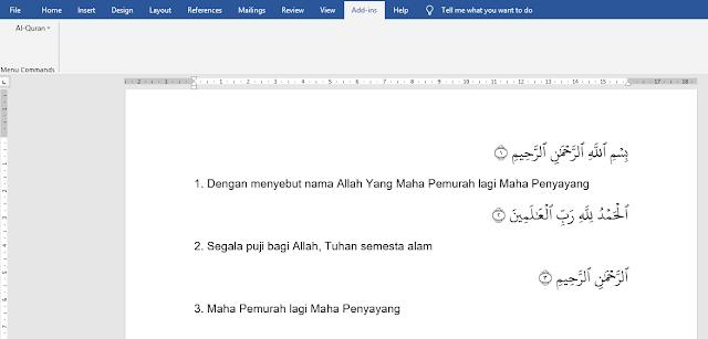 Cara Menulis Ayat Al-Qur'an di Microsoft Word 2019