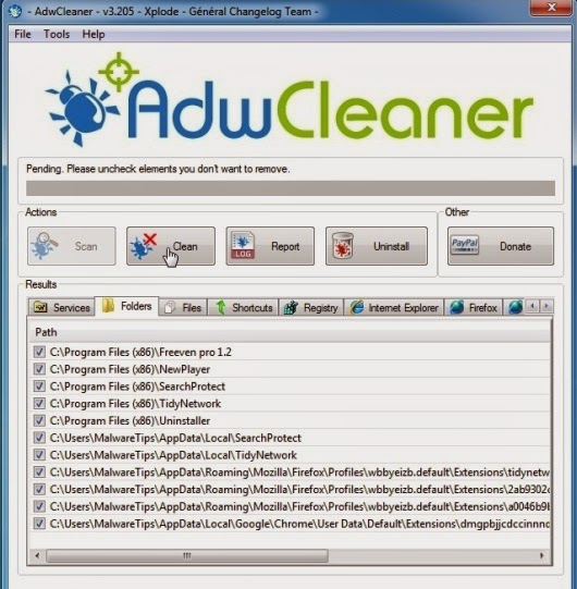 AdwCleaner Cleanup-to remove pop-ups generating adware
